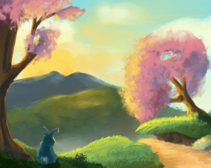 Colourful landscape and a Bunny